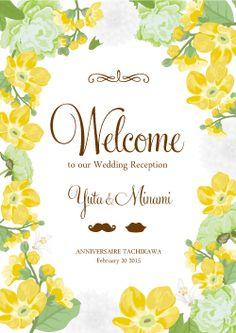 爽やかボタニカル柄♡ 黄色のおしゃれな席次表一覧。結婚式の席次表まとめ。