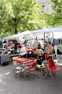 Every Sunday morning at 10am, Boxhagener Platz .   This is a typical independent Berlin flea market   Boxhagener Platz  Friedrichshain – Berlin 10245