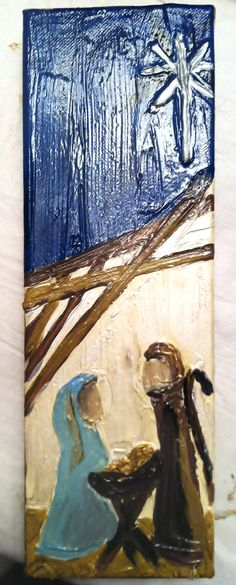 Abstract Nativity Painting by EllieKittrell on Etsy, $35.00