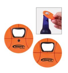 """Basketball sports ball-shaped bottle opener. Features basketball stock art printed on both sides. Made of durable ABS plastic with stainless opener insert. Features heavy duty magnet on back to store on refrigerator and other metal items.  2 3/4"""" Diameter x 1/6"""" Thick Colors: Orange"""