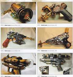 Steampunk guns from the book: 1,000 Steampunk Creations: Neo-Victorian Fashion, Gear, and Art. They are the Steampunk creations from Robert Lucas of Genuine Plastic.