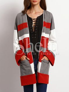 Burgundy White Long Sleeve Pockets Color Block Coat -SheIn(Sheinside) Mobile Site