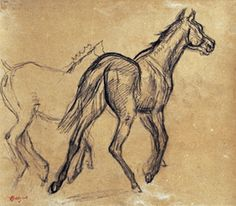 how can a sketch capture so perfectly the motion and energy of a young horse? Degas worship.