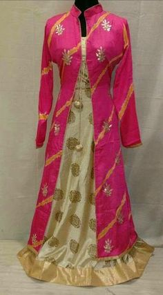 Rajasthani Gota Patti work Suits: Gotapatti handwork full gown in pink n cream combo. Indowestern Gowns, Gown With Jacket, Bandhani Dress, Full Gown, Dress Indian Style, Indian Wear, Sleeves Designs For Dresses, Anarkali Dress, Gown Dress