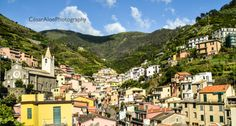 One of the most beautiful places in Italy, a Mediterranean village named Riomaggiore, in Cinque Terre. The colorful houses and the green mountain on a sunny day were perfect for a shot.