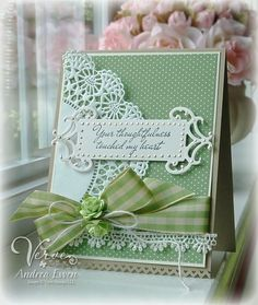 I love the partial doily halfway off the page. Very pretty card.
