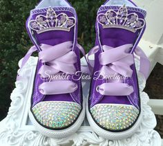 Sofia the First Shoes - Sofia the First Amulet Bow Sofia Birthday Sofia Party Pearl Sofia Costume Crystals Purple Converse Sofia Costume