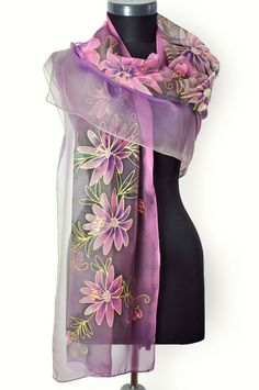 Violet Flowers. Hand painted flowers. Hand painted 100% silk chiffon scarf, long silk chiffon scarf painted by hand. Beautiful flowers, exotic blue roses and a bird. Woman silk scarf, luxury gift. Beautiful long silk accessory for your happy day! This scarf is a wonderful gift to your outfit.