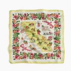 J Crew silk California map scarf: vintage summer look w/ straw and wicker bags
