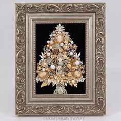 Vintage Rhinestone Jewelry CHRISTMAS TREE Pin Framed ART SILVER GOLD Bead CAMEOS