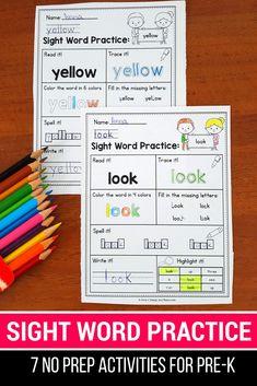 Sight Word Practice Pages Preprimer distance learning Sight Word Worksheets, Sight Word Activities, Literacy Activities, Literacy Centers, Easter Activities, Sight Word Practice, Sight Words, Preschool Kindergarten, Kindergarten Readiness