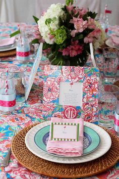 Monograms and Lilly Themed Preppy Birthday Brunch with Such Cute Ideas via Kara's Party Ideas KarasPartyIdeas.com #preppybirthdaybrunch #flo...
