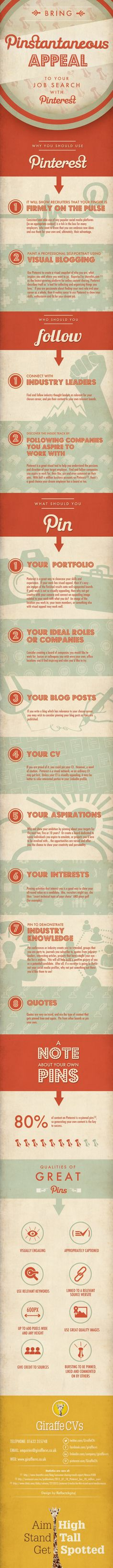 Bring pinstantaneous appeal to your job search with #Pinterest - #infographic  #jobsearch #socialmedia