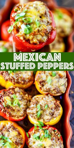 Mexican Stuffed Peppers Mexican Stuffed Peppers – colorful flavor packed stuffed bell peppers filled with ground beef, spices, mexican rice, veggies, and cheese! Mexican Food Recipes, Beef Recipes, Cooking Recipes, Healthy Recipes, Mexican Entrees, Recipies, Gourmet Dinner Recipes, Mexican Appetizers, Cheese Recipes