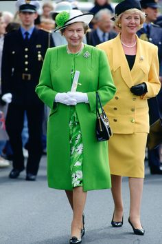 Hats: Must be off the face and secure so HM can be hands free, and no wide brims to prevent people seeing the Queen's face  Queen Elizabeth's Regal Rainbow Style Through the Years - HarpersBAZAAR.com