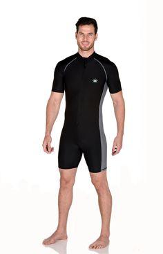 08780fa822 Men Full Body Sunsuit Sun Protection Swimwear UPF50+ Black Silver Fun  Activities