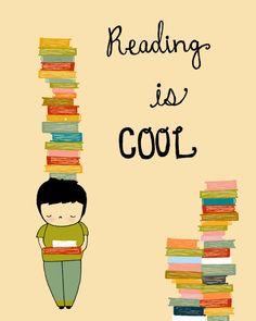 Lesung-Digital-Print-Art, lesen ist Cool, Bücher Poster, Kindergarten-Illustration, Childrens Art, Bibliothek drucken, Digitalkunst, jungen-Zimmer