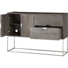 Shop smythe console.   Warm, tropical mango wood floats on a sleek frame of brushed stainless steel.  Double drawers, double doors and two inner shelves maximize storage in a minimal footprint.