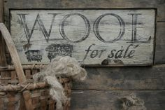 Early looking Antique Primitive 'Wool' for sale Wooden Sign. $52.00, via Etsy.