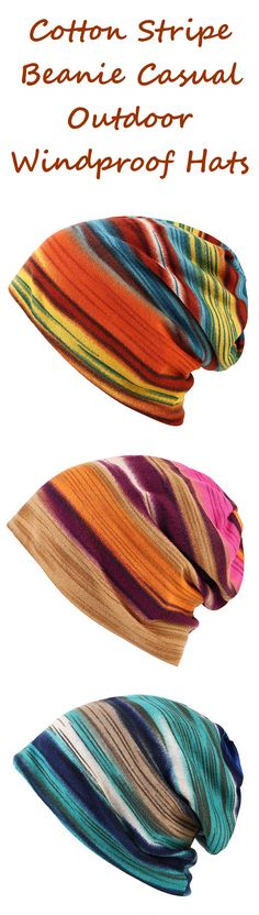 US$ 5.26 Women Cotton Stripe Beanie Casual Outdoor Windproof Hats For Both Cap And Scarf Use
