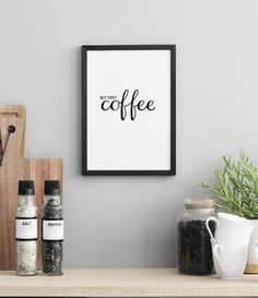 But first coffee. Poster with text that works well in the kitchen. Large selection of kitchen art for the kitchen. You can easily order your posters / prints online. Kitchen Posters, Kitchen Prints, Kitchen Art, But First Coffee, Poster 40x50, Foto Poster, Love Posters, Kitchen Gallery, Coffee Design