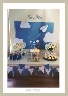 Sam's #first_birthday  #time_flies  blue and white birthday