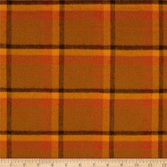 Primo Flannel Harvest Large Plaid Orange from @fabricdotcom  From Marcus Brothers, this double-napped, Medium-weight (7.25oz) yarn dyed flannel is perfect for quilting, apparel and home decor accents.  Colors include orange and brown.