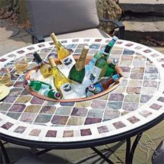 Tuscan Mosaic Tile Outdoor Patio Table - Wine Enthusiast