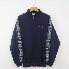a853017697165 Vintage 80s ADIDAS Blue Tracksuit Top Jacket