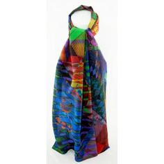 luxurious silk crepe de chine scarf by Taisir Gibreel, art to wear.