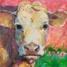 Great colorful cow painting.