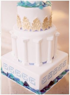 Daria and Dechele events- greek wedding inspiration Wedding Anniversary Cakes, Wedding Cakes, Beautiful Cakes, Amazing Cakes, Wedding Cake Inspiration, Wedding Ideas, Wedding Decor, Wedding Planning, Greek Party Decorations