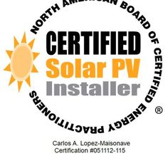 My NABCEP Certified PV (solar panels) Installer Seal!
