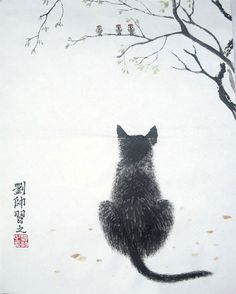 Cat Original Chinese Painting Wall Art :