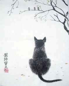 Cat Original Chinese Painting Wall Art :
