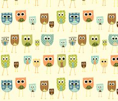 multi_owls_-_white_background fabric by petunias on Spoonflower - custom fabric  So cute!  Spoonflower.com is an awesome site!