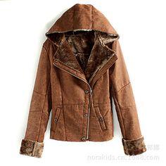 Brown hooded zip up coat. http://roseandpose.com/