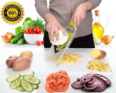 Mandoline Slicer - Premium Vegetable Cutter for Potato Chips, Onion, Tomato, Cucumber, Cabbage - Julienne Veggie Food Slicer Peeler - Slicer for Vegetables, Fruits and Cheese -- Want additional info? Click on the image.