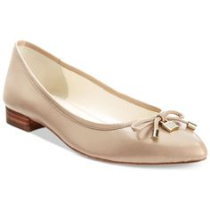 Anne Klein Ovi Pointed Toe Flats (8500 RSD) ❤ liked on Polyvore featuring shoes, flats, cyber beige, metallic shoes, anne klein shoes, pointed toe shoes, beige flats and anne klein