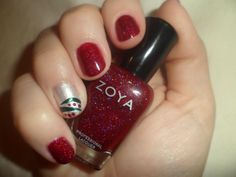 Blaze with an accent nail of Ginessa, striped with Logan and dotted with more Blaze