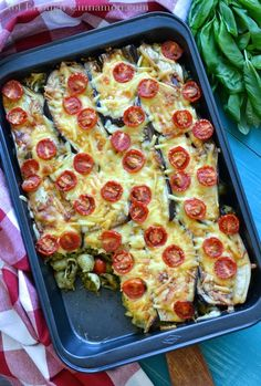Eggplant, Pasta & Pesto Bake. I'd replace the eggplant with zucchini since I can't eat eggplant.