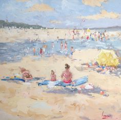 Nicole Laceur. Impressionistisch olieverf schilderij. Lekker op 't strand