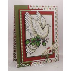 Serendipity Stamps Christmas Dove stamp and Oak Leaf Scroll Die.