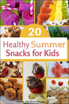 Healthy Meals For Kids Twenty recipes for healthy snacks to make for kids during the summer holidays! - Twenty recipes for healthy snacks to make for kids during the summer. Healthy Summer Snacks, Healthy Snacks For Kids, Easy Snacks, Yummy Snacks, Snack Recipes, Healthy Recipes, Kid Snacks, Baby Recipes, Toddler Snacks