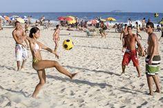 Playing futevolei in Ipanema.