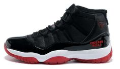 size 40 21232 f5ead Air Jordan 11 XI Chicago Bulls Logo Bred Shoes Black - White - Varsity Red  Playoffs