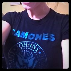 Ramones Tee Shirt Size xs black tee with blue screen print Tops Tees - Short Sleeve