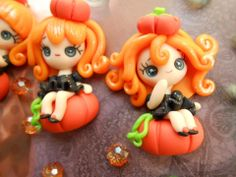 polymer clay brujas en calabaza halloween porcelana fria fimo