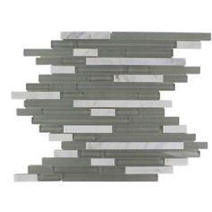 Splashback Glass Tile 12 in. x 12 in. Marble And Glass Mosaic Floor and Wall Tile-TEMPLE GREY PLUME at The Home Depot