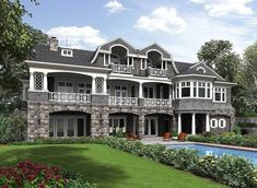 Plan Premium Shingle Style House Plan like division of space, would lose the fish\hunt area in favor of gym. Dream House Plans, House Floor Plans, Villas, Golf Room, House Blueprints, Plan Design, App Design, Design Ideas, Big Houses